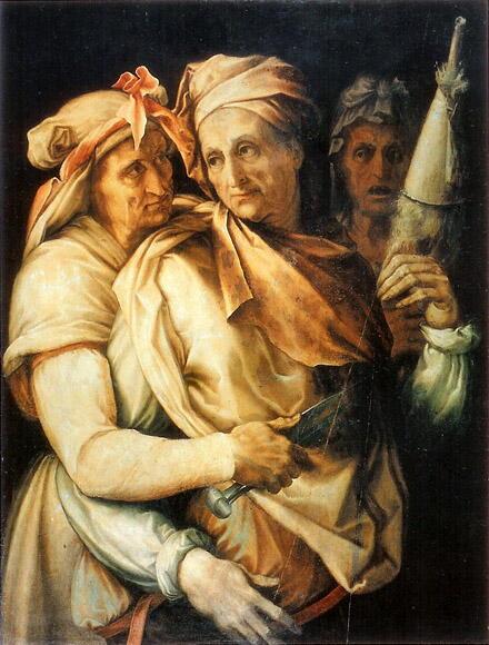 SALVATI (1550) © Galleria Palatina, Florence - Les Moires étaient trois: -Clotho filait les jours et les événements de la vie - Lachesis enroulait le fils et tirait le sort de chacun - Atropos coupait avec ses ciseaux le fil de la vie. Chez les Romains les Parques se nommaient Nona, Decima et Morta. Elles présidaient à la naissance, au mariage et à la mort. Elles étaient représentaient sur le Forum et on les appelait Tria Fata (les 3 destinées).