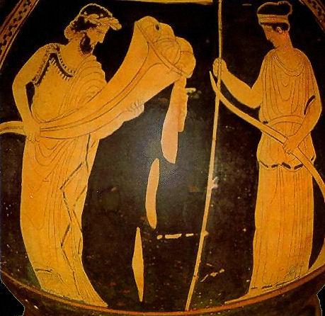 Hadès, la corne d'abondance et Déméter (430 - 420) Musée archéologique d'Athènes