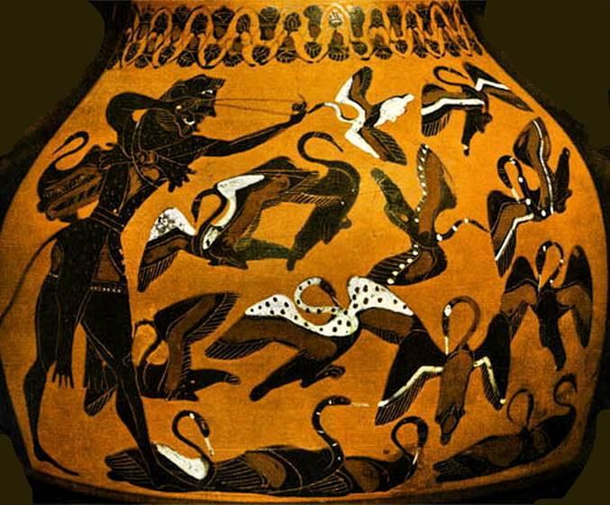 Mythologie grecque : Héraclès et les oiseaux du lac Stymphale: mythologica.fr/grec/heraclet06.htm