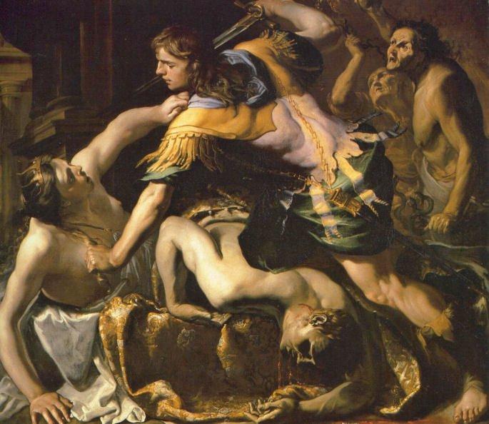 Oreste massacrant Egisthe et Clytemnestre
