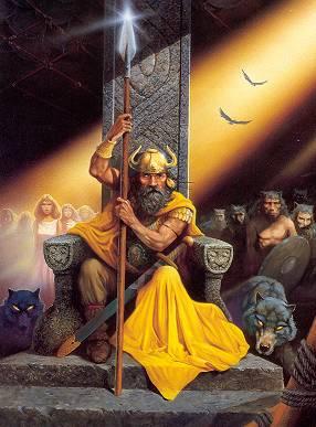 mythologie nordique odin sur son trone